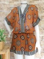 ขายส่ง:งานจีนเช็ท2ชิ้นแบบเก๋ๆ/เสื้ออก46+กางเกงเอวยืดได้23-35
