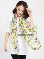 ผ้าพันคอลายผีเสื้อ Butterfly scarf - สีเหลือง - ผ้าพันคอชีฟอง Chiffon - size 160*60 cm