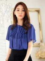 เสื้อเชิ้ตชีฟองไซส์ใหญ่ ติดกระดุม สีน้ำเงิน (XL,2XL,3XL)