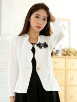 เสื้อคลุมแจ็คเก็ตสั้นไซส์ใหญ่ สีขาว แขนยาว เข็มกลัดถอดออกได้ (XL)