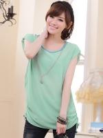 เสื้อชีฟองชายรูด สีเขียวอ่อน พร้อมสายสร้อย ไซส์ XL