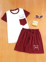 ขายส่ง:พร้อมส่งเชท2ชิ้นน่ารักแต่งเป๋าปักน้องแมว/เสื้อ+กางเกง/แดงเข้ม