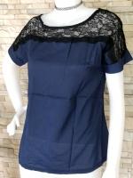 ส่ง:งานจีนเสื้อแต่งต่อผ้าลูกไม้สีดำช่วงบน/อก34