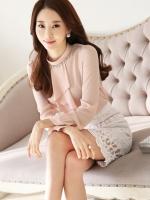 เสื้อทำงานผู้หญิงแขนยาวสีชมพู แฟชั่นสวยเรียบหรู