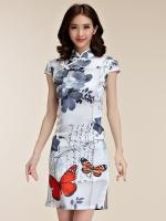 ชุดกี่เพ้าสั้นไซส์ใหญ่สไตล์ฮั่น แขนล้ำ ลายดอกไม้และผีเสื้อ (XL,2XL,3XL)