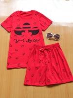 ขายส่ง:เช็ท2ชิ้นแต่งสกีนเก๋ๆ/เสื้อ+กางเกง/แดง