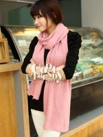 ผ้าพันคอไหมพรม ผ้า cashmere scarf size 180x30 cm - สี light pink