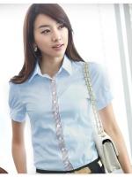 เสื้อเชิ๊ตทำงานแขนสั้น สำหรับผู้หญิงสีฟ้า เรียบแบบมีสไตล์
