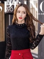 เสื้อลูกไม้สีดำ แขนยาว คอเสื้อติดไข่มุก (L,XL,2XL,4XL,5XL)
