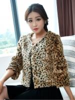 เสื้อคลุมคาร์ดิแกนลายเสือดาว สีขาว/สีน้ำตาลอ่อน (XL,2XL,3XL)