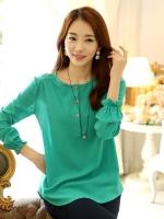 เสื้อชีฟองยืด คอเสื้อแต่งกระดุม สีเขียวเข้ม/สีเหลืองเข้ม (XL,2XL,3XL)