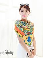 ผ้าพันคอลาย Fairy Tale สีส้มเหลือง - ผ้า Silk - size 130 x 130 cm