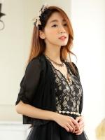 เสื้อคลุมชีฟองตัวสั้น สีขาว/สีดำ (XL,2XL,3XL)
