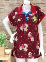 ขายส่ง:เสื้อยาวคอปกทรงใส่สบายลายดอกสดใส/อก42