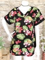 ส่ง:เสื้อยาวทรงใส่สบายคอวีลายดอกสดใส/อก40