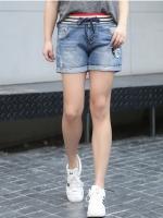 กางเกงยีนส์ขาสั้น เอวยางยืด ติดอาร์มเท่ ๆ (XL,2XL,3XL,4XL)