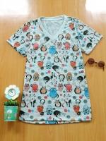 ขายส่ง:เสื้อยืดคอวีพิมพ์ลายแมวทั้งตัวแบบน่ารัก/อก33-34