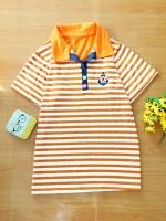ขายส่ง:พร้อมส่งเสื้อคอปกลายเส้นริ้วแต่งปักสมอ/อก36/ส้ม