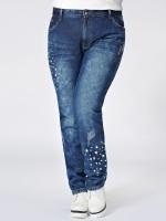 ++พร้อมส่ง++ กางเกงยีนส์ไซส์ใหญ่ ขายาว พิมพ์ดาวปลายขา (2XL)
