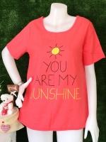 ขายส่ง:เสื้อผ้าป่านสกีนsunshineน่ารักทรงใส่สบาย/อก40/โอรสเข้มสด
