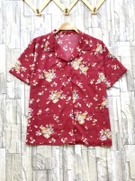 ส่ง:เสื้อปกฮาวายลายดอกกระดุมผ่าหน้ามีเป๋าอก/อก44