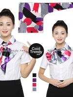 ผ้าพันคอสำเร็จรูป ผ้ายูนิฟอร์ม uniform ผ้าไหมซาติน : L480