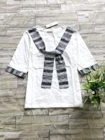 ส่ง:งานจีนเสื้อปลายแขนพับเบิ้ลแต่งสายผ้าผูกเป็นไท้เก๋ๆ/อก32-34