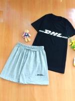 ขายส่ง:เช็ท2ชิ้นเก๋แต่งสกรีนDHL/เสื้อดำ+กางเกงเทา