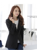 เสื้อสูทสไตล์เกาหลี ปกเทเลอร์ สีส้ม/สีดำ (XL 2XL 3XL)