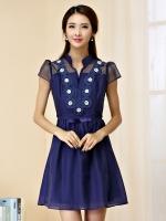 เดรสผ้าชีฟองออแกนซ่าไซส์ใหญ่ คอวี ปกตั้ง สีน้ำเงิน/สีชมพูอมม่วง (XL,2XL,3XL)