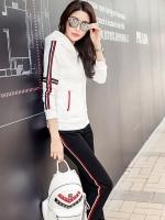 ชุดแฟชั่นกีฬาลำลองไซส์ใหญ่ Set 2 ชิ้น เสื้อแขนยาวรูดซิปมีฮู้ด+กางเกงขายาว สีขาว/สีดำ/สีแดง (4XL,5XL,6XL)