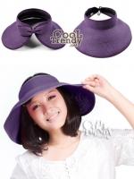 หมวกแฟชั่นเกาหลี หมวกกันแดดทรงปีกกว้าง : สีม่วง