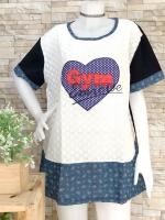 ส่ง:เสื้อยาวแต่งลูกไม้ฉลุต่อปลายยีนส์ปักหัวใจทรงใส่สบาย/อก45