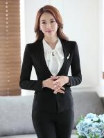 ชุดสูทผู้หญิงแขนยาวไม่มีปก เสื้อสูทสีดำ พร้อมกกางเกงสีดำ