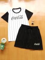 ขายส่ง:พร้อมส่งเช็ท2ชิ้นน่ารักแต่งสกีนโคคาโคล่า/เสื้อ+กางเกง/ดำ