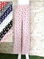 โปรขายครบสี6สี:กางเกงลายดอกขาตรงผ้าพริ้วทรงใส่พริ้ว/เอวยืด26-36