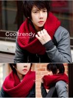 ผ้าพันคอผู้ชาย ผ้าพันคอไหมพรม Loop Loop สี Red men scarf