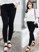กางเกงยืดขายาวสีดำ ปลายขาปักหมุด (XL,2XL,3XL)