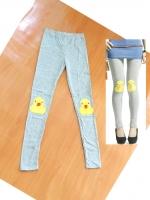 ขายส่ง:พร้อมส่งกางเกงเลคกิ้งน่ารักแต่งปักเป็ดขนปุยๆที่เข่า/เอวยืดได้22-30/เทา