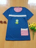 ขายส่ง:เสื้อยืดแต่งคาดลูกไม้ถักแต่งเป๋าข้างสก็อตแบบน่ารัก/อก33-34
