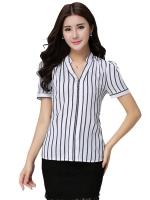 เสื้อเชิ้ตลายแนวตั้งไซส์ใหญ่สไตล์เกาหลี (XL,2XL,4XL,5XL)