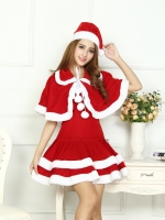 ชุดซานตี้เกิร์ล แบบมีผ้าคลุม ขายลด50% ของมีตำหนิสีแดงตกใส่สีขาว