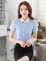 เสื้อเชิ้ตทำงานแขนสั้น สีฟ้า ปกขาว ปักลาย เป็นชุดยูนิฟอร์ม ชุดพนักงานออฟฟิต