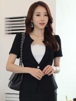 เสื้อสูทแขนสั้นสีดำ เรียบหรู สไตล์เกาหลี
