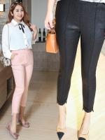 กางเกงผ้ายืดไซส์ใหญ่ สีดำ/สีชมพู (XL,2XL,3XL,4XL)