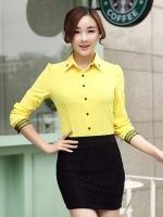 เสื้อเชิ้ตแฟชั่นผู้หญิงแขนยาว สีเหลือง