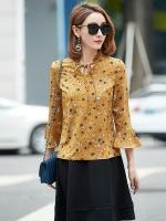 เสื้อชีฟองสีเหลืองลายดอกไซส์ใหญ่ (1XL,2XL,3XL,4XL,5XL)