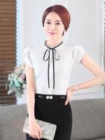 เสื้อเชิ้ตทำงานแขนสั้นสีขาว โบว์เล็ก เป็นชุดยูนิฟอร์ม ชุดพนักงานออฟฟิต