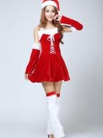 ชุดคอสเพลย์ซานตี้คริสมาสต์กำมะหยี่สีแดง