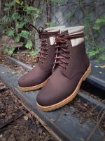 รองเท้าผู้ชาย | รองเท้าแฟชั่นชาย Brown Ankle Boot หนังนูบัคแท้ กันน้ำ